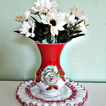 Stunning Vintage Embossed Vase Schaubach Kunst, German Pottery, Hand Painted, Floral Design, Orange and White Porcelain
