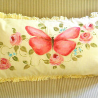 Hand Painted Butterfly Throw Pillow Floral Rose Home Decor FREE SHIPPING