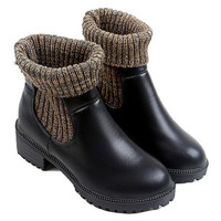 Black Socks Design Boots With Round Toe
