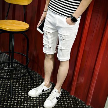 Mid Zipper Knee Length Regular Casual Male Shorts Jeans Loose Short Shorts men High Quality