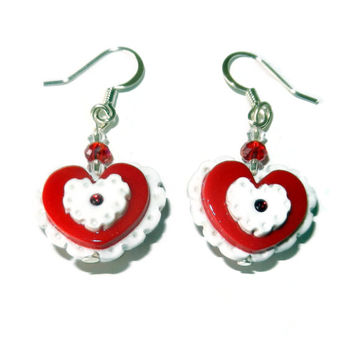 Red and White Polymer Clay Heart Dangle Earrings