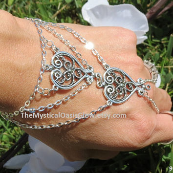 Double Heart Bridal Slave Bracelet, Heart Charms, Wedding Bracelet, Hand Chain Jewelry for her Love Jewellery Slave Ring Body Jewelry