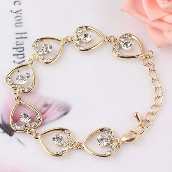Crazy Feng New Fashion Women/Girl's Yellow Gold Plated Heart Bracelet Bangles Jewelry gift = 1946735172