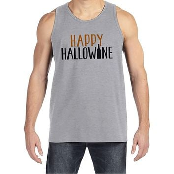 Men's Halloween Shirt - Happy HalloWINE - Adult Funny Wine Halloween Shirt - Funny Mens Grey Tank Top - Men's Happy Halloween Costume