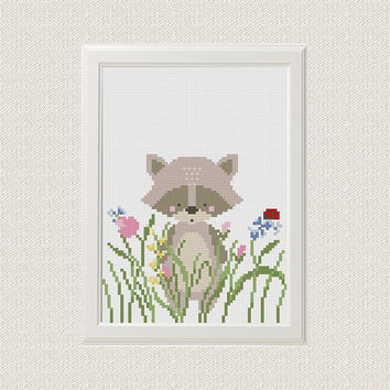 Raccoon cross stitch pattern Baby cross stitch pattern Funny cross stitch Funny embroidery Raccoon embroidery pattern Raccoon
