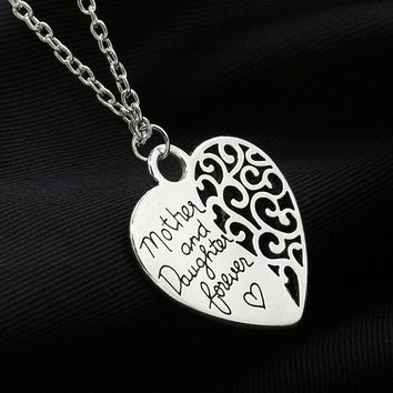 Mother and Daughter Forever Love Heart Woman Pendant Silver Toned Necklace