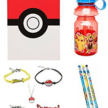 Pokemon Back to School Supplies 19 Piece Set w/ Notebook Journal, Water Bottle, Pencils, & Bonus Jewelry (4 Bracelets and Pokeball Pendant Necklace)