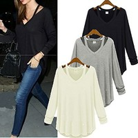 Long Sleeve V Neck Tops T Shirt T-shirt BA808CD (M, beige)
