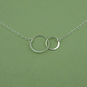 Two Circle Necklace - double circle, sterling silver trendy necklace
