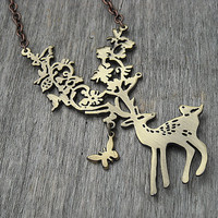 Deer Necklace, Stag Necklace, Fawn Necklace, Antler Necklace, Game of Thrones, Woodland, Nature, Whimsical, Filigree Necklace, Hunter,