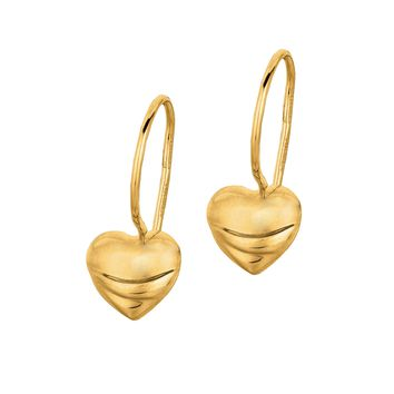 14K Yellow Gold Shiny Small Puff Heart Leverback Like Earring