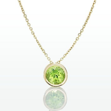 14 Karat Gold Bezel Set Peridot Floating Slide Pendant Necklace
