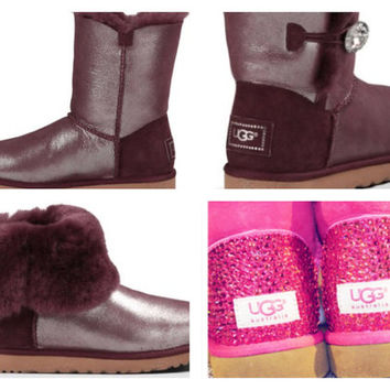 Custom UGG Boots made with Swarovski Bailey Button Bling Shimmer Free: Shipping, Repair Kit, Cleaning Kit, Crystal Color, 48 hr Turnaround