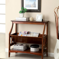Stafa transitional styling cherry finish wood hall console entry table with lower angular shelf