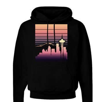 Seattle Skyline Sunrise Dark Hoodie Sweatshirt