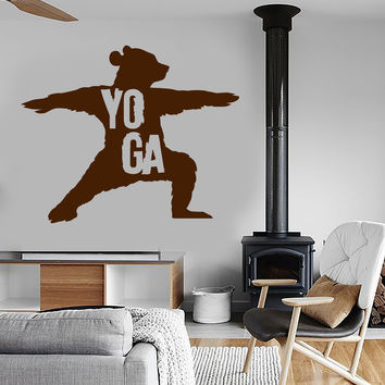 Vinyl Wall Decal Yoga Center Bear Meditation Art Stickers Mural (ig3971)