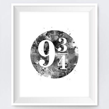 Platform 9 3 4 Hogwarts Express Art Print 9 3/4 Dobby Harry Potter Gift Movie Tattoo Slytherin Hufflepuff Decor Gift Download Wall Art