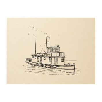 Nautical Boat Drawing Black Wood Print