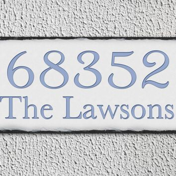 Customizable Slate Home Address House Sign - Eggshell House Number, Family Name - Handmade and Personalized