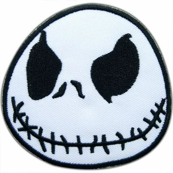 Jack Skellington cartoon nightmare before Christmas movies iron patch sewing clothes Iron-On
