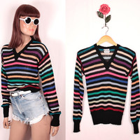 1970s rainbow striped sweater // ribbed cuffs and waistband