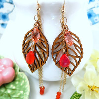 Wood leaf orange carnelian gold tassle earrings, laser carved wood leaf Fall foliage earrings
