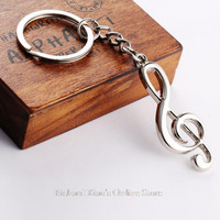 2015 New key chain key ring silver plated musical note keychain for car metal music symbol key chains Freeshipping