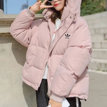 """Adidas"" Women Simple Fashion Solid Color Long Sleeve Hoodie Cotton-padded Clothes Coat"