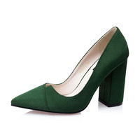 Heel Nubuck Leather High Heels Show Thin Pumps Pointed Toe  Classic High Heels