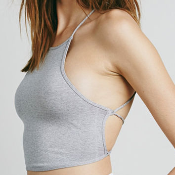 Gray Halter Cross Strappy Back Crop Cami Top