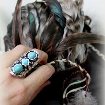 Limited upcycled Stunning Tibetan silver and turquoise adjustable ring Free people style Gypsy Bohemian cocktail statement ring  by Inali