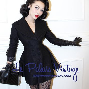 FREE SHIPPING Le palais limited edition vintage elegant classic slim waist double breasted skirt woolen outerwear