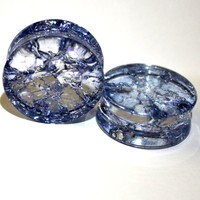 PAIR-BLUE SHATTERED QUARTZ-Organic Flesh Tunnels- Stone Ear Plugs-Ear Gauges-