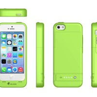 i-Blason Apple iPhone 5C PowerGlider [MFI APPROVED] Rechargeable External Battery Full Protection Case [iOS 7 Compatible] with Micro 5 Pin USB Charging Port - AT&T, Sprint, Verizon. T-Mobile (Green)