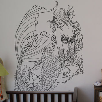 Mermaid sticker, Mermaid decal Nautical decal Beach Theme Sticker Beach tr1905