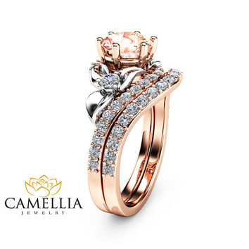 Morganite Unique Engagement Ring Set 14K Two Tone Gold Engagement Rings Unique Morganite Rose Gold Rings