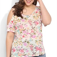 Plus Size Short Cold Shoulder Sleeve Trapeze Top with Floral Print
