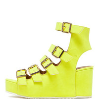 Multi Buckle Neon Wedges
