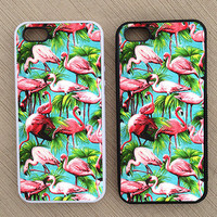 Cute Tropical Flamingo Pattern iPhone Case, iPhone 5 Case, iPhone 4S Case, iPhone 4 Case - SKU: 229