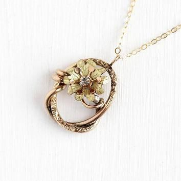 Antique Victorian Pendant - Rose & Yellow Gold Filled Flower Conversion Charm White Pa