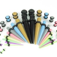 Gauges Kit 36 Pieces Mix Colors Acrylic Tapers with Mix Colors Acrylic Plugs 14G - 00G Stretching Kit - Assorted 18 Pairs