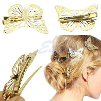 free shipping Hot Women Shiny Golden Butterfly Hair Clip Headband Hairpin Accessory Headpiece