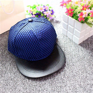 Men Women Mesh Leather Baseball Cap Flat Brimmed Hip-hop Hat