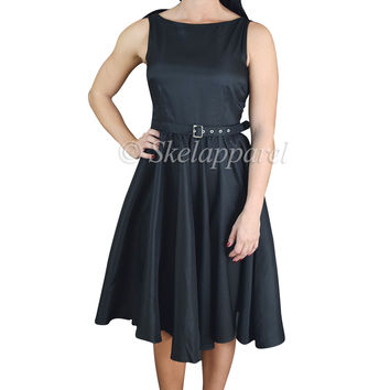 60's Rockabilly Vinatge Audrey Hepburn Style Black Satin Flare Swing Party Dress