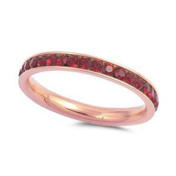 Garnet January Birthstone Eternity Stack Rose Gold Stainless Steel Ring