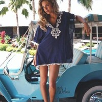 Navy Blue-White Patchwork Lace Tassel Elbow Sleeve Mini Dress