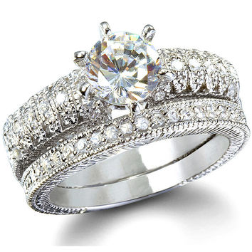 Sterling Silver 2 carat Round cut CZ Antique Lace Style Wedding Ring Set size 5-9
