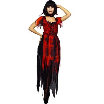 New high quality Halloween female vampire costume adult long horror costume ghost party party costume ghost bride gothic dress c