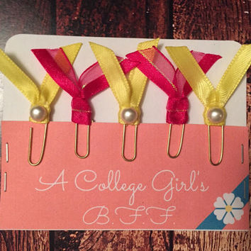 Set of five Mini Ribbon Paper clip embelishments for personal planners/scrapbooking