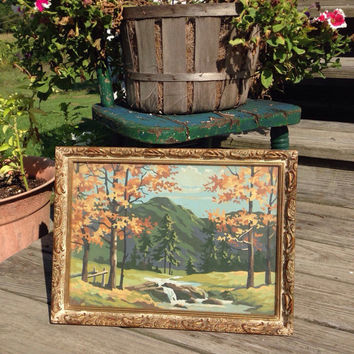 Vintage Paint by Number Autumn Country Scene Landscape with a Gold Gilt Carved Frame Under Glass PBN Home Decor